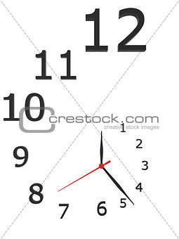 Clock with arrows and numbers isolated on a white background