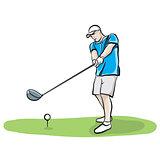 Golfer Swinging Club Hand Drawn Illustration