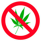 Symbol of forbidden cannabis