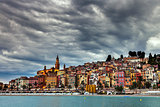 Heavy clouds over Menton