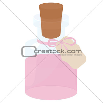 Glass small Bottle with pink water and tag wood cork