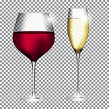 Glass of Champagne and Wine on Transparent Background Vector Ill