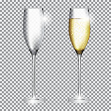 Glass of Champagne Full and Empty on Transparent Background Vect