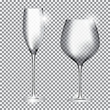 Empty Glass of Champagne and Wine on Transparent Background Vect