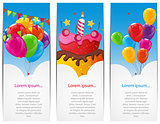 Color Glossy Happy Birthday Balloons and Cake Banner Background