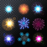 Vector Illustration of Fireworks, Salute Set on a Transparent Ba