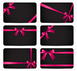 Gift Card with Pink Ribbon and Bow. Vector illustration