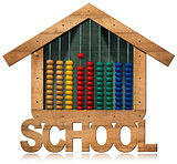 Blackboard and Abacus - School Building Shaped