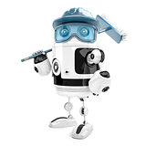 Robot worker with mop. Cleaning services. Isolated. Contains cli