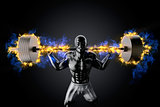 Emotional bodybuilder with burning barbell