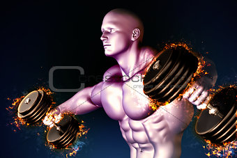 Athlete with burning dumbbells.