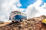 Travelling vintage camper van