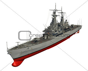American Modern Warship On White Background