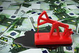 Red Pumpjack And Spilled Oil On Euros