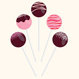 Cake Pops Vector Illustrations Set