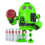 Green Robot playing bowling. Isolated. Contains clipping path