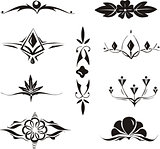 collection of symmetrical floral elements