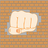 Fist in wall