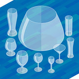 Glassware isometric flat icons set.