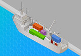 Cargo vessel isometric view flat