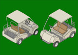 Golf cart isometric flat vector