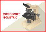 Microscope 3d isometric vector flat