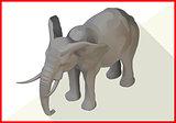 Elephant isometric flat vector 3d