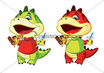 Little dragon eat pizza
