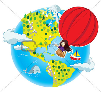 Little girl flying in the air balloon