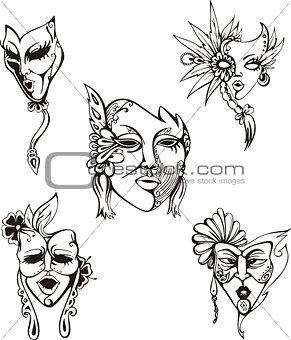 Carnival Venetian Masks Set