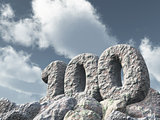 number one hundred rock - 3d rendering