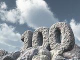 number one hundred rock - 3d rendering