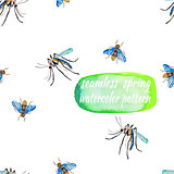Watercolor seamless insects pattern