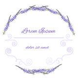 Vector purple floral frame. Flower illustration