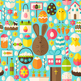 Happy Easter Holiday Vector Flat Blue Seamless Pattern