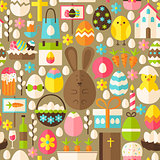 Happy Easter Holiday Vector Flat Light Brown Seamless Pattern