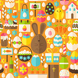 Happy Easter Holiday Vector Flat Orange Seamless Pattern
