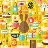 Happy Easter Holiday Vector Flat Yellow Seamless Pattern