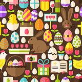 Happy Easter Vector Flat Design Dark Brown Seamless Pattern