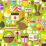 Happy Easter Vector Flat Design Green Seamless Pattern