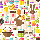 Happy Easter Vector Flat Design White Seamless Pattern