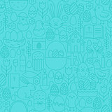 Thin Happy Easter Line Seamless Blue Pattern