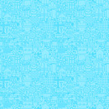 Thin Line Light Blue Construction Seamless Pattern