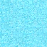 Thin Line Light Blue Construction Seamless Pattern