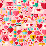 Valentine Day Pink Vector Flat Design Seamless Pattern