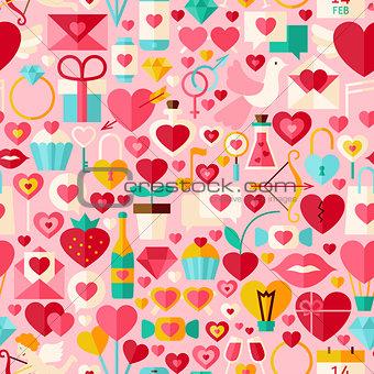 Valentine Day Pink Vector Flat Design Seamless Pattern