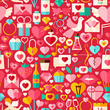 Valentine Day Red Vector Flat Design Seamless Pattern