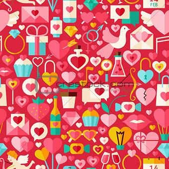 Valentine Day Red Vector Flat Design Seamless Pattern