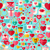Valentine Day Vector Flat Design Blue Seamless Pattern
