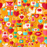 Valentine Day Vector Flat Design Orange Seamless Pattern